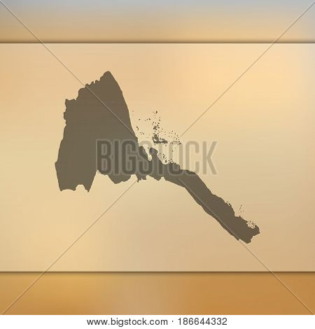 Eritrea map on blurred background. Silhouette of vector Eritrea map.