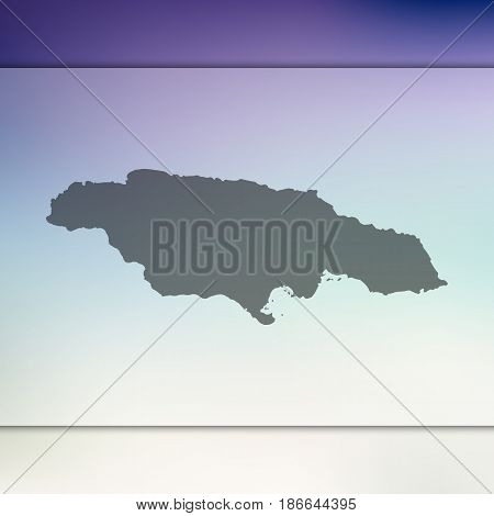 Jamaica map. Blurred background with silhouette of vector Jamaica map.