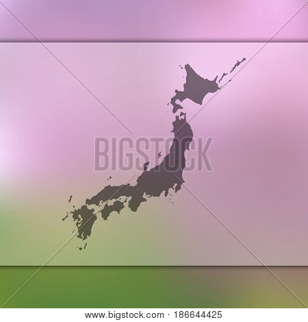Japan map. Blurred background with silhouette of vector Japan map.