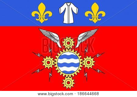 Flag of Argenteuil is a commune in the northwestern suburbs of Paris France. Vector illustration