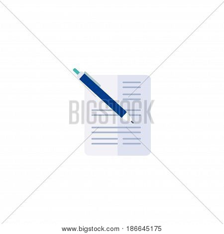 Flat Document With Pen Element. Vector Illustration Of Flat Contract Isolated On Clean Background. Can Be Used As Contract, Pen And Document Symbols.