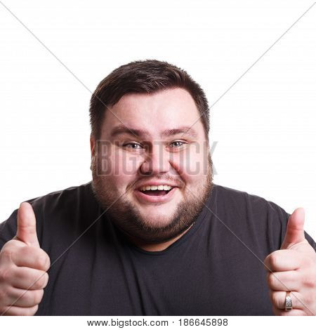 Good work. Happy fat man with thumb-up gesture smiling to camera on white isolated studio background