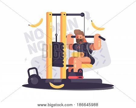 Athlete trains on sport apparatus in gym. No pain no gain. Vector illustration