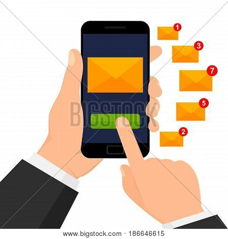 Mobile app, email marketing concept. Isolated on white background. Vector illustration.