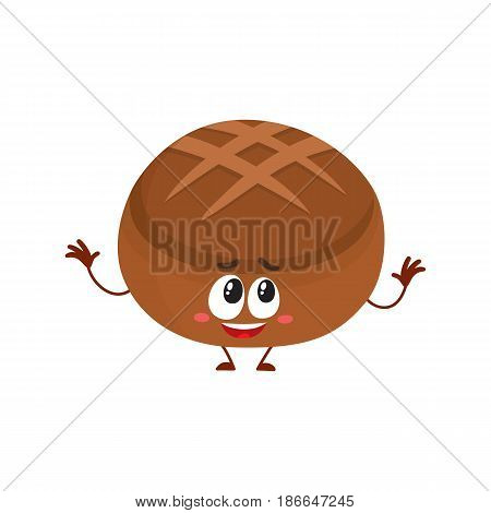 Funny round whole wheat, dark, brown bread loaf character with smiling human face, cartoon vector illustration isolated on a white background. Round smiling crispy brown bread loaf character, mascot