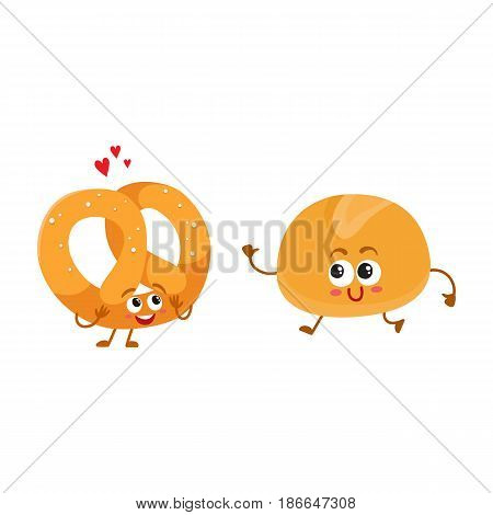 Smiling German pretzel and English bun, breakfast bread, bakery characters, cartoon vector illustration isolated on a white background. Crispy pretzel and soft bun, white bread characters, mascots