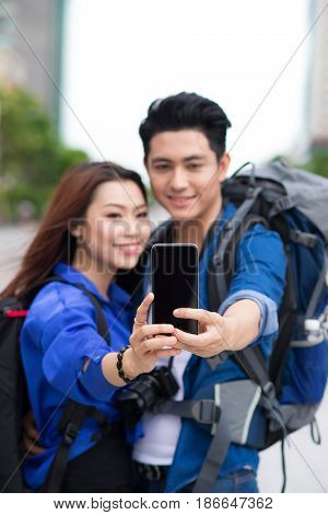 Happy Tourists Taking Photo Of Themselves. Summer Holidays, Travel, Vacation, Tourism And Dating Con