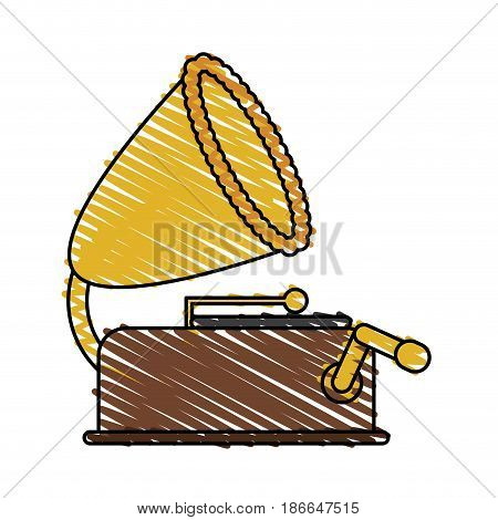 color crayon stripe image old gramophone musical sound icon vector illustration