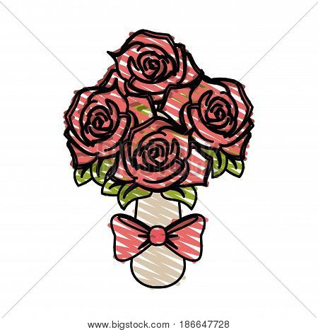 color crayon stripe image wedding bouquet of pink roses vector illustration