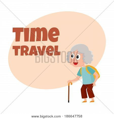 Travel time poster, banner, postcard design with senior woman, tourist with backpack, cartoon vector illustration. Full length portrait of old lady, tour ad design template