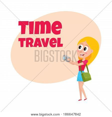 Travel time poster, banner, postcard design with pretty woman, tourist on vacation tour, making photo, cartoon vector illustration. Full length portrait of young woman, girl tourist making photo