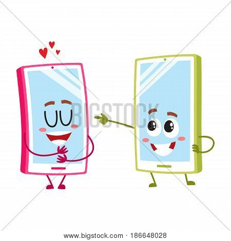 Two cartoon mobile phone characters, one hugging itself with love, another pointing to it with finger, vector illustration isolated on white background. Two cartoon mobile phone, smartphone characters