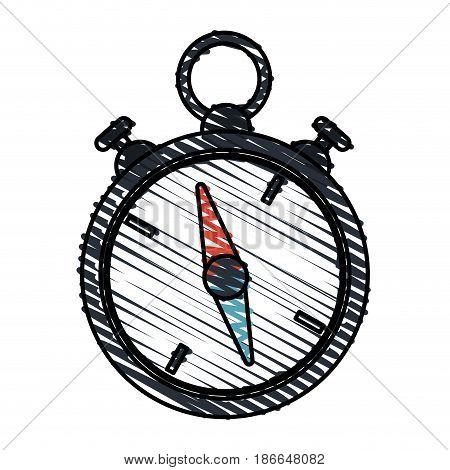 color crayon stripe image stopwatch icon vector illustration
