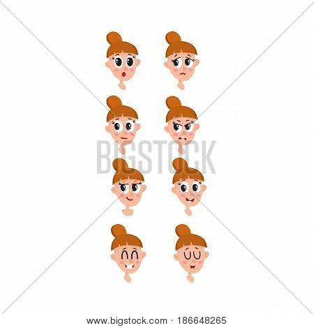 Pretty light brown hair woman, neutral facial expression, cartoon vector illustrations isolated on white background. Beautiful woman feeling glad, serene, relaxed, delighted. Neutral face expression