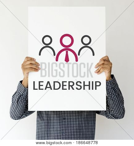 Man holding banner of leadership business organization graphic cover his face