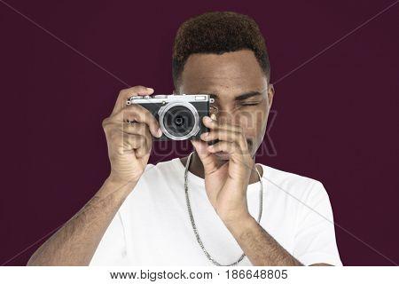 Men Hands Hold Camera Shoot