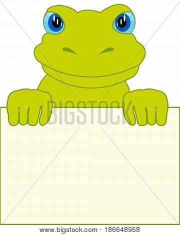 Amphibian frog and clean sheet on white background