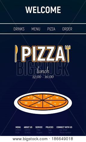 Pizza web site with menu line, fork and knife minimal style on  blue background