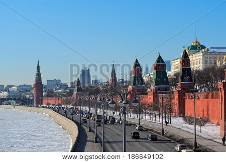 MOSCOW, RUSSIA - FEBRUARY 6, 2017: Panorama of Moscow view of the Moscow Kremlin and the Kremlin embankment on a winter sunny day