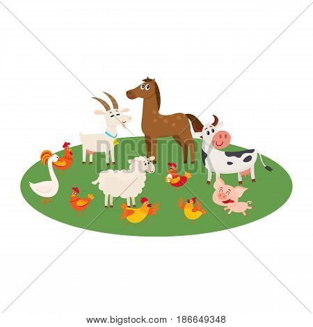 Farm animals - cow, sheep, horse, pig, goat, rooster, hen, goose- grazing in the pasture, cartoon vector illustration isolated on white background, Cute and funny farm animals grazing on green lawn