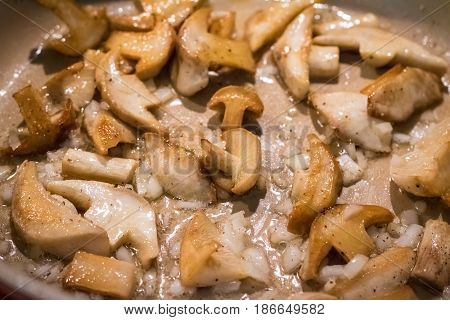 Frying Pan With Mushrooms And Onion