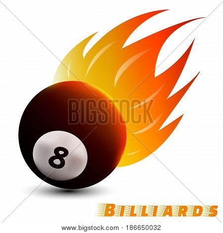billiards ball with red orange yellow tone fire in the white background. sport ball logo design. billiards ball logo. vector. illustration. graphic design.