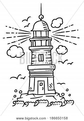 Lighthouse building, on a stone or rock base near the sea. Childrens vector monochrome line illustration. Line drawing for t-shirt and souvenire production