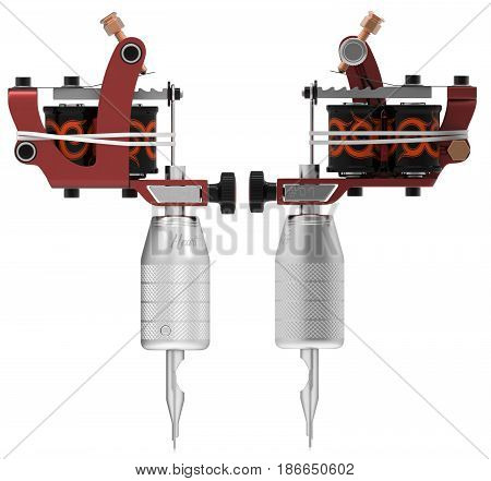 Metallic red silver tattoo machine with orange ornament set. 3D isometric illustration