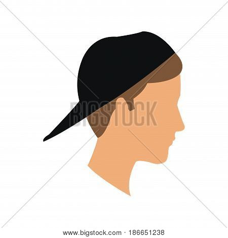 avatar head guy young profile vector illustration