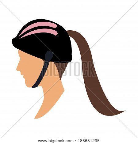 profile head woman with sport helmet vector illustration