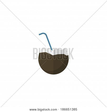 Flat Coconut Drink Element. Vector Illustration Of Flat Cocos Isolated On Clean Background. Can Be Used As Coconut, Palm And Drink Symbols.