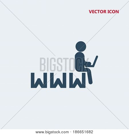 man sitting on the internet symbol with a laptop Icon, man sitting on the internet symbol with a laptop Icon Eps10, man sitting on the internet symbol with a laptop Icon Vector, man sitting on the internet symbol with a laptop Icon Eps