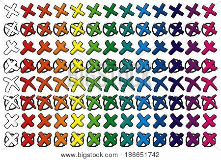 Colored Collection Of Crosses