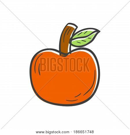 Vector illustration with cartoon hand drawn red apple on white background. Healthy fruit snack for diet and healthy lifestyle. Vector organic natural apple icon. Vitamin fruit apple garden icon