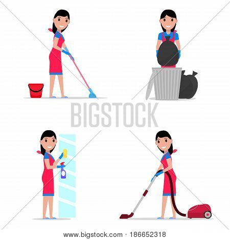 Vector illustration of a set cartoon girl cleaning. Isolated white background. Flat style. Concept of a business cleaning service. Woman cleaner, maid.