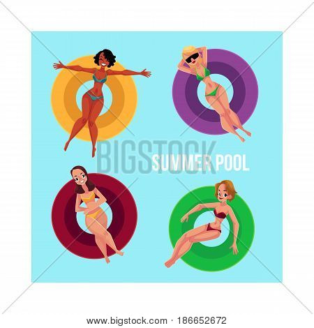 Banner, poster template with black and Caucasian girls, women floating on inflatable rings in swimming pool, top view cartoon vector illustration. Girl, women swimming on inflatable rings in pool