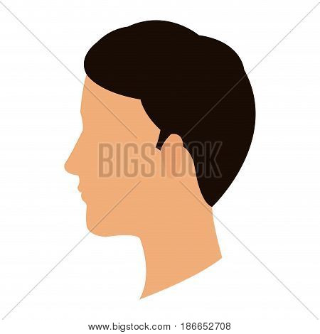 profile head guy young character vector illustration