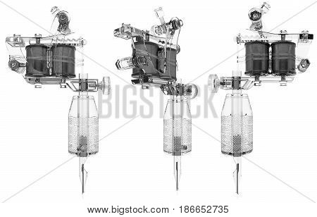 Grey plastic transparent tattoo machine with glass details set. 3D perspective illustration