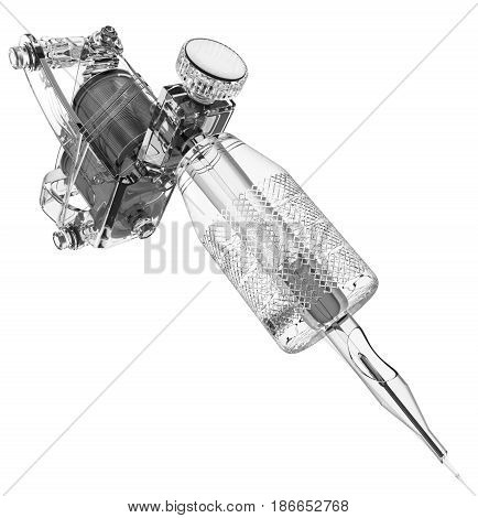 Grey plastic tattoo machine with transparent grip and needle closeup. 3D illustration