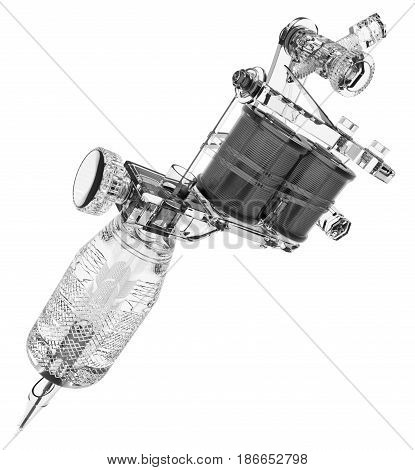 Grey plastic gloss tattoo machine big transparent grip. 3D illustration
