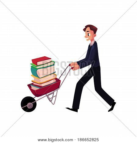 Young man, businessman, student, librarian pushing wheelbarrow with book pile, cartoon vector illustration isolated on white background. Man pushing wheelbarrow full of books, study, workload concept