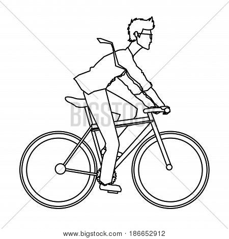 young man riding bicyle with suit and glasses outline vector illustration