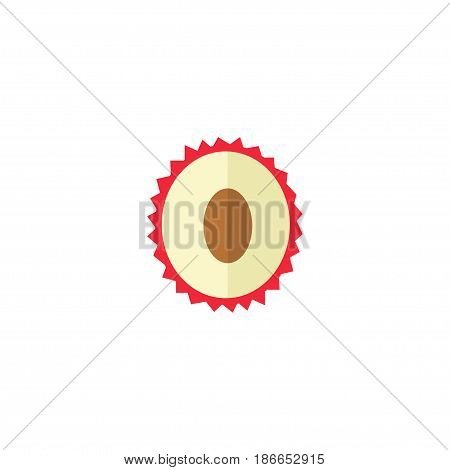 Flat Lychee Element. Vector Illustration Of Flat Litchi Isolated On Clean Background. Can Be Used As Lychee, Fruit And Litchi Symbols.
