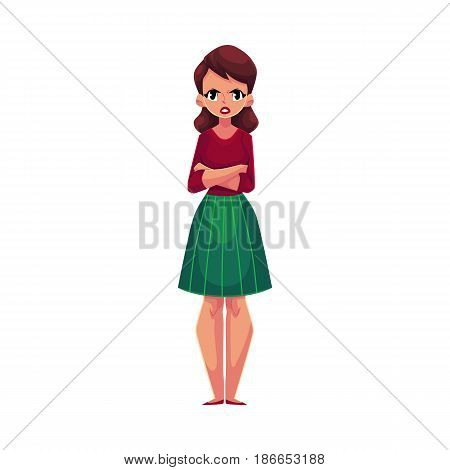 Young woman, girl in casual clothes standing with frowned, angry face expression, cartoon vector illustration on white background. Frowning, irritated girl, woman standing with arms crossed on breast