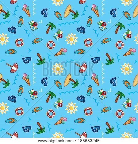 Vector pattern beach holiday, summer theme, palm trees, sun, sea on blue background. Illustration wallpaper vacation on sea, beach theme, palm trees, sun