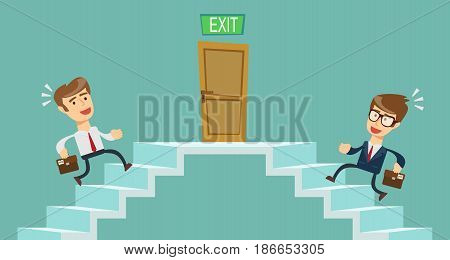 young people climbs the stairs. Concept of career growth. Stock vector illustration for poster, greeting card, website, ad, business presentation, advertisement design.