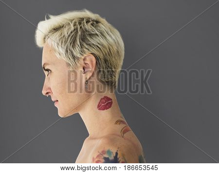 Caucasian Woman Sideview Bare Chest