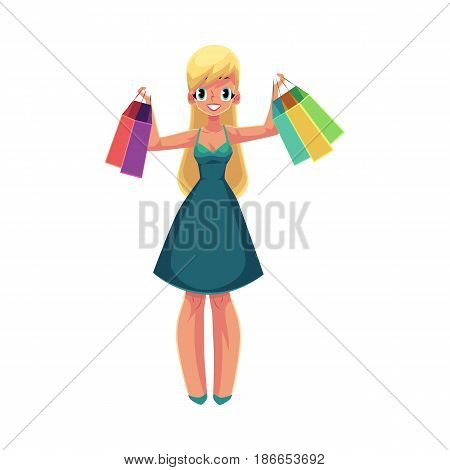 Happy blond girl, woman in summer dress holding shopping bags, sale concept, cartoon vector illustration isolated on white background. Blond girl, woman with many shopping bags, happy shopping concept