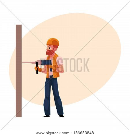 Worker, workman, builder in helmet and overalls drilling the wall, cartoon vector illustration with space for text. Full length portrait of Caucasian construction worker, builder with drill