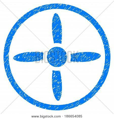 Grunge Air Screw icon with grunge design and scratched texture. Unclean vector blue pictogram for rubber seal stamp imitations and watermarks. Draft sign symbol.
